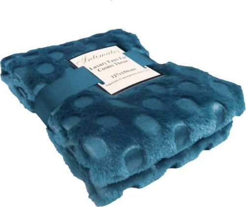 TEAL COLOUR CIRCLES FAUX FUR THROW